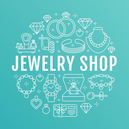 Een sieraden winkel, diamant accessoires banner illustratie. Vector lijn icoon van juwelen - gouden verlovingsringen, juwelen oorbellen, zilveren kettingen, charmes armbanden, briljanten. Mode winkel cirkel sjabloon. Stock Illustratie