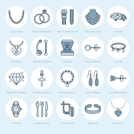 A Jewelry flat line icons, jewellery store signs. Jewels accessories - gold engagement rings, gem earrings, silver chain, engraving necklaces, brilliants. Thin linear signs for fashion store.