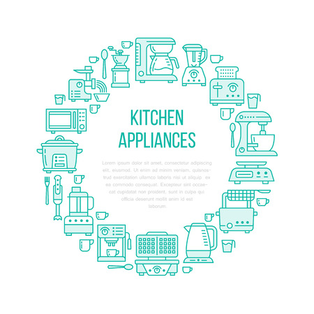 Kitchen small appliances equipment banner illustration. Vector line icon of household cooking tools - blender mixer, coffee machine, microwave, toaster. Electronics circle template with place for text