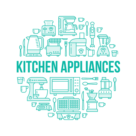 scale: Kitchen small appliances equipment banner illustration. Vector line icon of household cooking tools - blender, mixer, food processor, coffee machine, microwave, toaster. Electronics circle template.