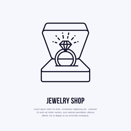 Shining brilliant ring in gift box illustration. Jewelry flat line icon, jewellery store logo. Jewels engagement accessories sign. Иллюстрация