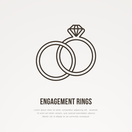 Two engagement rings with diamond illustration. Jewelry flat line icon, jewellery brilliant store logo. Jewels accessories sign.