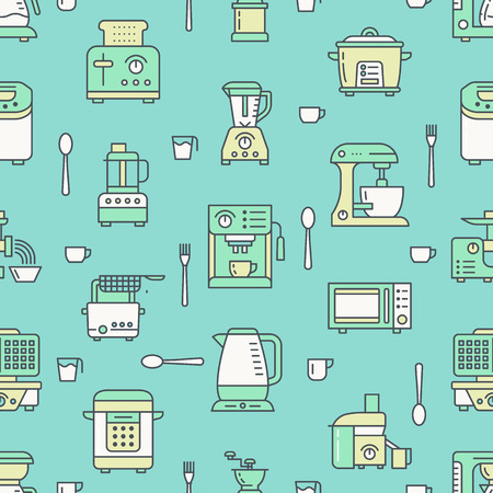 Kitchen utensil, small appliances green seamless pattern with flat line icons. Background with household cooking tools blender, mixer, food processor, coffee machine, microwave, toaster. Electronics.