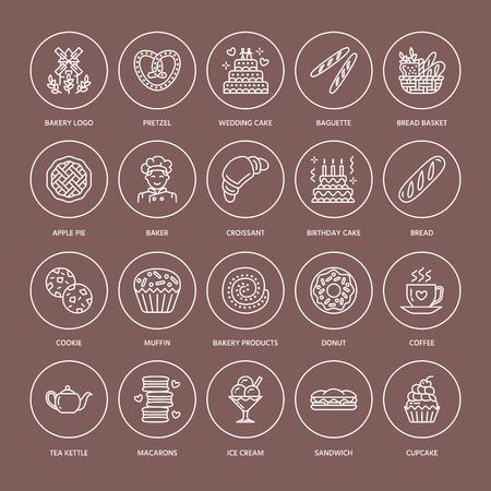 빵집, 제과 라인 아이콘. 달콤한 가전 제품 케이크, 크루아상, 머핀, 패스트리 컵 케익, 파이 음식 얇은 선형 기호.