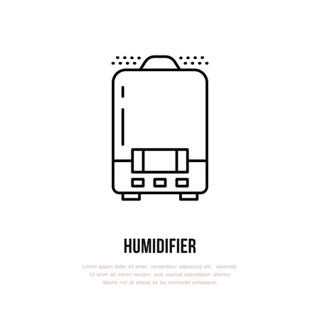 Household supply line logo. Flat sign of humidifier, climate equipment. Logotype for ventilation shop.