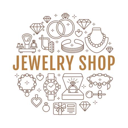 Juwelenwinkel, de bannerillustratie van diamanttoebehoren. Vector lijn icoon van juwelen - gouden verlovingsringen, gem oorbellen, zilveren kettingen, charmes armbanden, brilliants. Mode winkel cirkel sjabloon. Stock Illustratie