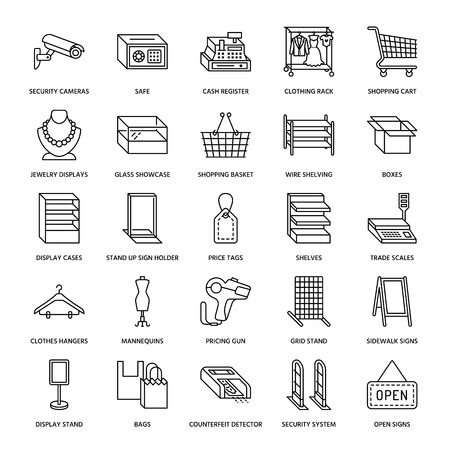 scale: Retail store supplies flat line icons. Trade shop equipment signs. Commercial objects - cash register, basket, scales, shopping cart, shelving, display cases. Thin linear signs for warehouse store.