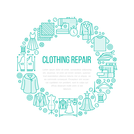 Clothing repair, alterations studio equipment banner illustration. Vector line icon of tailor store services - dressmaking, suit, garment sewing. Clothes atelier circle template with place for text. Stock Photo