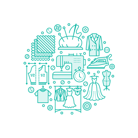 Clothing repair, alterations studio equipment banner illustration. Vector line icon of tailor store services - dressmaking, clothes steaming, suit dress, garment sewing. Atelier circle template. Stock Photo