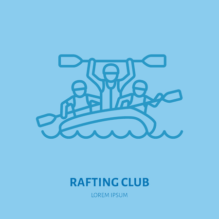 Rafting, kayaking flat line icon. Vector illustration of water sport - happy rafters with paddles in river raft. Linear sign, summer recreation pictograms for paddling gear store. Stock Vector - 83173244