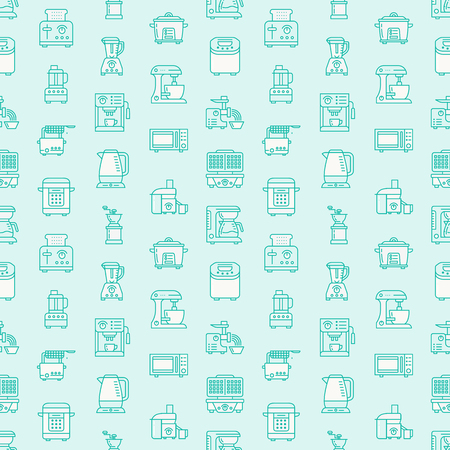 Kitchen small appliances equipment blue seamless pattern flat line icons. Household cooking tools - blender, mixer, food processor, coffee machine, microwave, toaster. Linear signs electronics store. Stock Photo