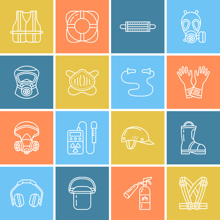 Personal protective equipment line icons. Gas mask, ring buoy, respirator, bump cap, ear plugs and safety work garment.