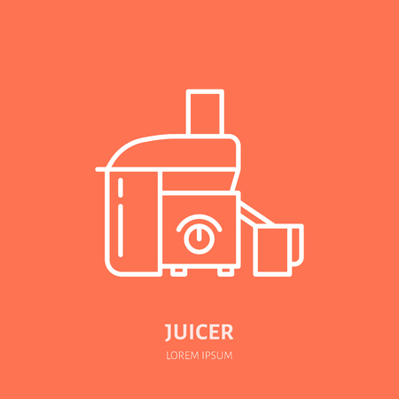 Juicer vector flat line icon. Cooking equipment linear logo.