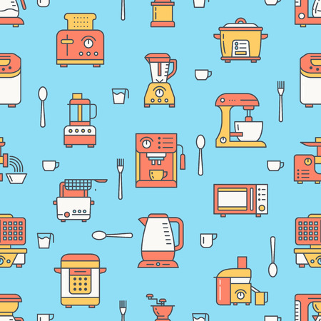 Kitchen utensil, small appliances colored seamless pattern flat line icons. Illustration