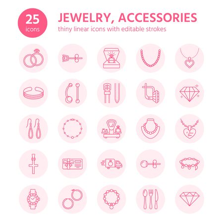 Jewelry flat line icons, jewellery store signs. Jewels accessories - gold engagement rings, gem earrings, silver chain, engraving necklaces, brilliants. Thin linear signs for fashion store. Ilustração