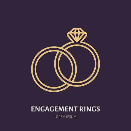 Brilliant engagement rings illustration. Jewelry flat line icon, jewellery store logo. Jewels accessories sign. Иллюстрация