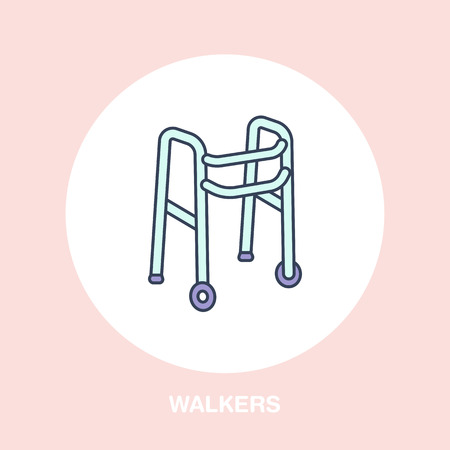 home care nurse: Walkers line icon. Vector logo for rehabilitation equipment store.