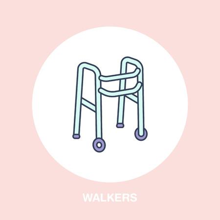 Wanderer Linie Symbol. Vektor-Logo für Rehabilitation Ausrüstung speichern. Standard-Bild - 83402288