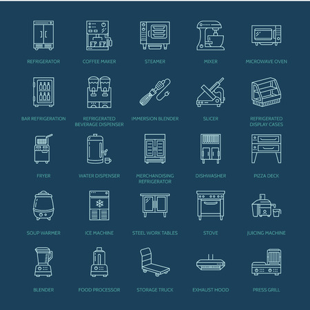 Restaurant professional equipment line icons. Kitchen tools, mixer, blender, fryer, food processor, refrigerator, steamer, microwave oven. Thin linear signs for commercial cooking equipment store. Иллюстрация