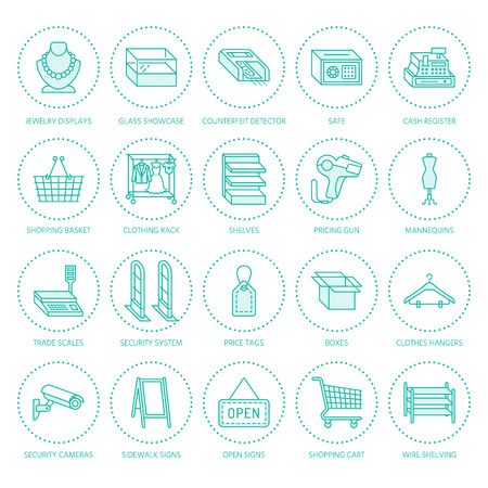 Retail store supplies flat line icons. Trade shop equipment signs. Commercial objects - cash register, basket, scales, shopping cart, shelving, display cases. Thin linear signs for warehouse store.