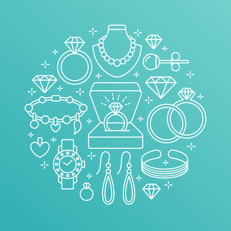 brilliants: Jewelry shop, diamond accessories banner illustration. Vector line icon of jewels - gold watches, engagement rings, gem earrings, silver necklaces, charms, brilliants. Fashion store circle template.