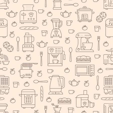 Kitchen utensil, small appliances beige seamless pattern with flat line icons. Background with household cooking tools - blender, mixer, food processor, coffee machine, microwave, toaster. Electronics