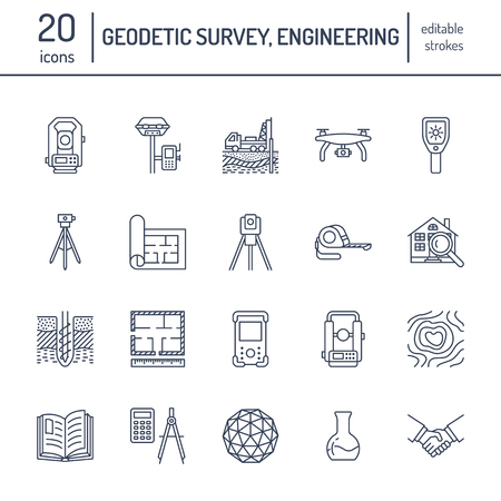 Geodetic survey engineering vector flat line icons.