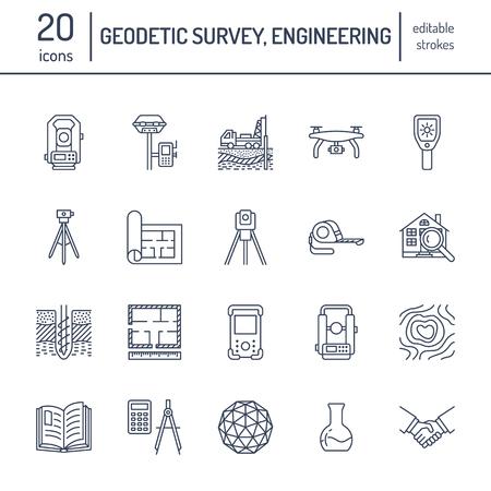 Geodetische enquête engineering vector platte lijn pictogrammen.