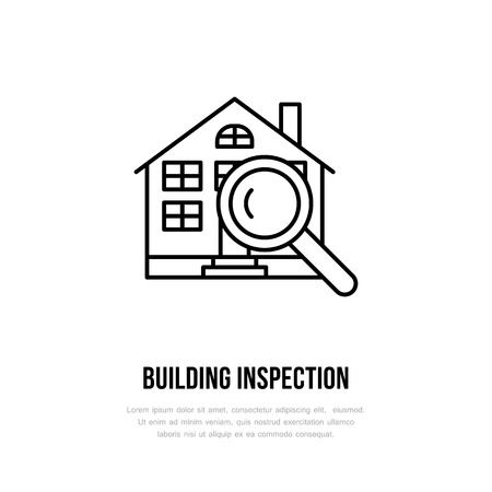 House inspection vector flat line icon. Real estate logo.