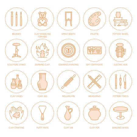 Pottery workshop, ceramics classes line icons.