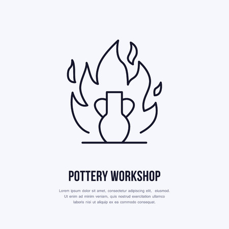 Pottery workshop, ceramics classes line icon. Illustration