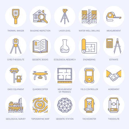 Geodetic survey engineering vector flat line icons. Geodesy equipment, tacheometer, theodolite, tripod.