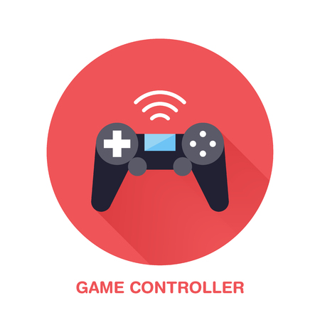 Game controller flat style icon. Wireless technology, video game device sign. Vector illustration of communication equipment for electronics store. Illustration