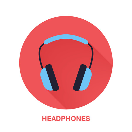 wireless communication: Headphones flat style icon. Wireless technology, audio computer device sign. Vector illustration of communication equipment for electronics store. Illustration