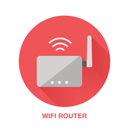 wireless communication: Wifi router flat style icon. Wireless technology, office equipment sign. Vector illustration of communication devices for electronics store.