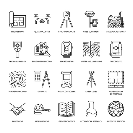 Geological research, building measurement inspection illustration set Stock Illustratie