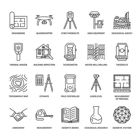 Geological research, building measurement inspection illustration set Vettoriali