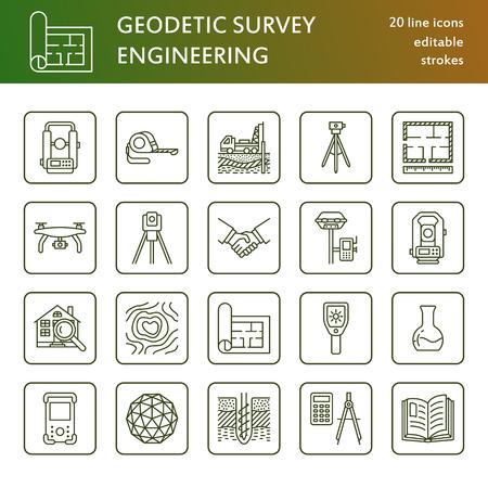 Geological research, building measurement inspection illustration set Ilustração