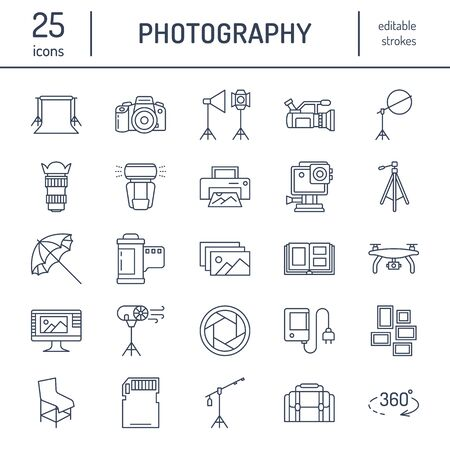 Photography equipment flat line icons. Digital camera, photos, lighting, video cameras, photo accessories, memory card, tripod lens film. Vector illustration, signs for photo studio or store.