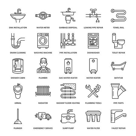 Sanitär-Service-Vektor-flache Linie Symbole. Haus Badezimmerausstattung, Wasserhahn, WC, Rohrleitung, Waschmaschine, Geschirrspüler. Klempnerreparaturillustration, dünne lineare Zeichen für Heimwerkerdienste.