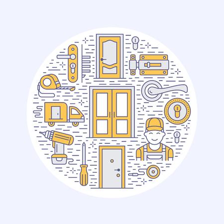 ドア設置修理バナー イラスト様々 なドアのタイプ、ハンドル、ラッチ、ロック、ヒンジのベクター線のアイコン。家のインテリア ショップ、便利  イラスト・ベクター素材