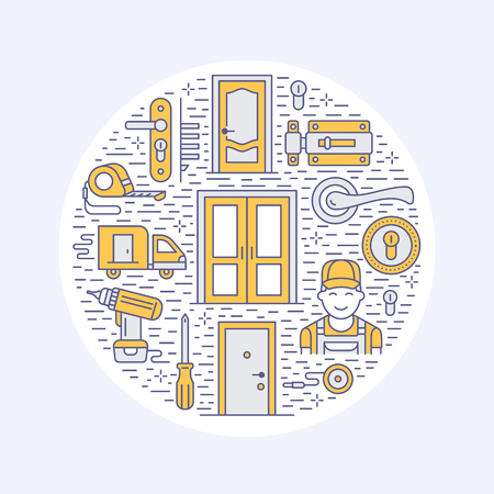 Doors installation, repair banner illustration. Vector line icons of various door types, handle, latch, lock, hinges. Circle template with thin linear signs for house decor shop, handyman service. 免版税图像 - 83951436
