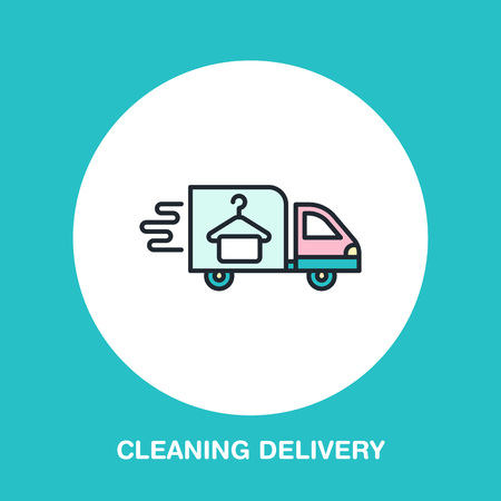 Delivery colored flat line icon, fast dry cleaning courier logo. Transportation flat sign, illustration for shipping business. Illustration