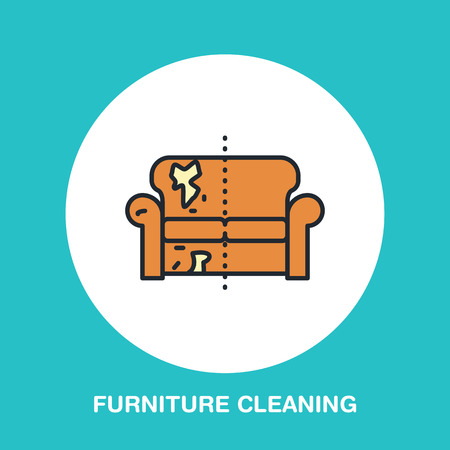 upholstered: Sofa repair line icon, upholstered furniture dry cleaning logo. Couch flat sign, illustration of dirty home.