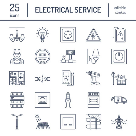 house logo: Electricity engineering vector flat line icons. Electrical equipment, power socket, torn wire, energy meter, lamp, wiring design, multimeter. Electrician services signs, house repair illustration.