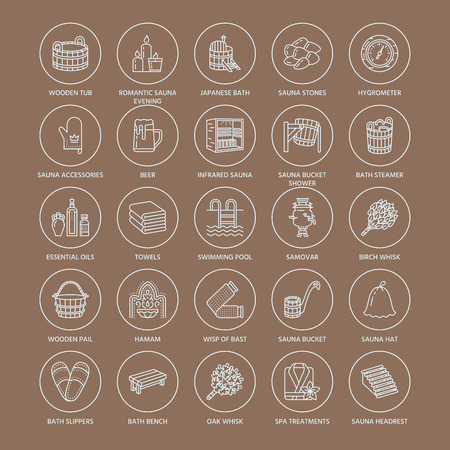 Sauna, icônes de la ligne de bain de vapeur. Salle de bains équipement bouleau, chêne bouleau, seau. Hammam, japonais, finlandais, russe, infrarouge signe sauna. Spa accessoires de relaxation peignoir, huiles essentielles signe linéaire mince Vecteurs