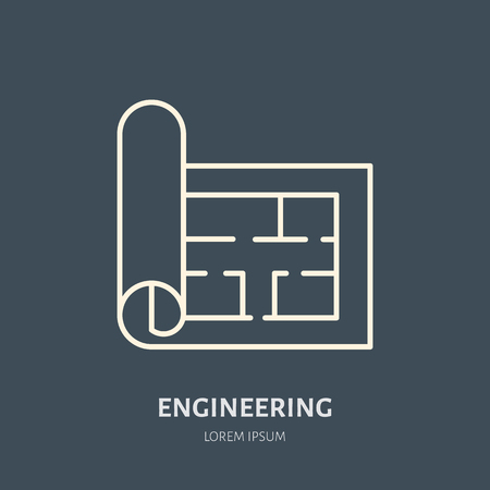Building plan vector flat line icon. Architecture logo. Illustration of architectural drawing. Engineering survey service sign.