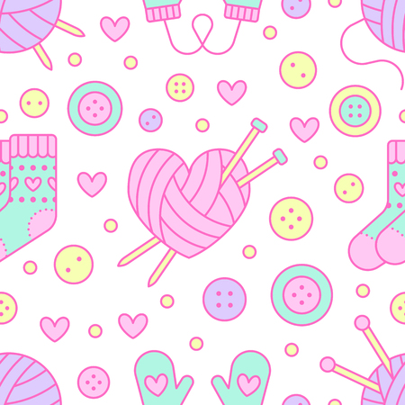 bottons: Knitting, sewing seamless pattern. Cute vector flat line illustration of hand made equipment knitting needle, bottons, wool, cotton skeins. Colored background for yarn tailor store. Knitted with love.