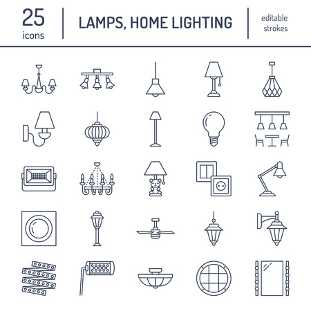 Light fixture, lamps flat line icons. Home and outdoor lighting equipment - chandelier, wall sconce, desk lamp, light bulb, power socket. Vector illustration, signs for electric, interior store. Vettoriali