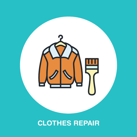 Clothing repair line icon, logo. Dry cleaning service flat sign, illustration of garment painting.